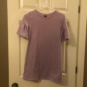 Cute lavender sweatshirt tunic with short sleeves